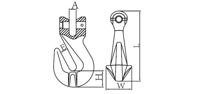 G80 CLEVIS GRAB HOOK WITH WINGS