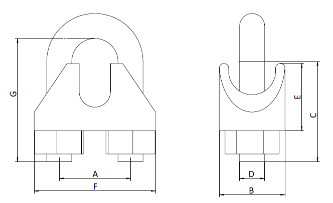 Din13411-5 Type Malleable Wire Rope Clip