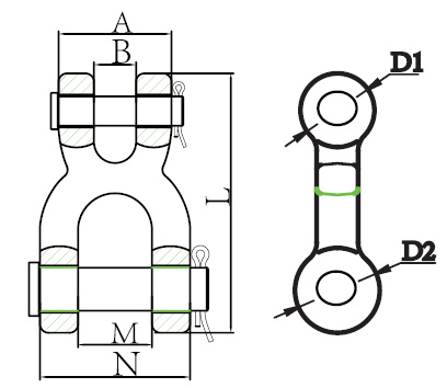 X TYPE DOUBLE CLEVIS LINK