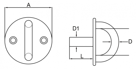 SS ROUND EYE PLATE WITH THREAD STUD